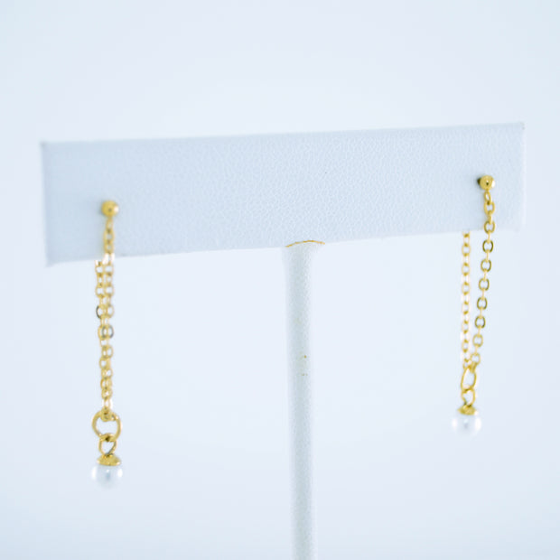 Gold Chain with Pearl Earrings