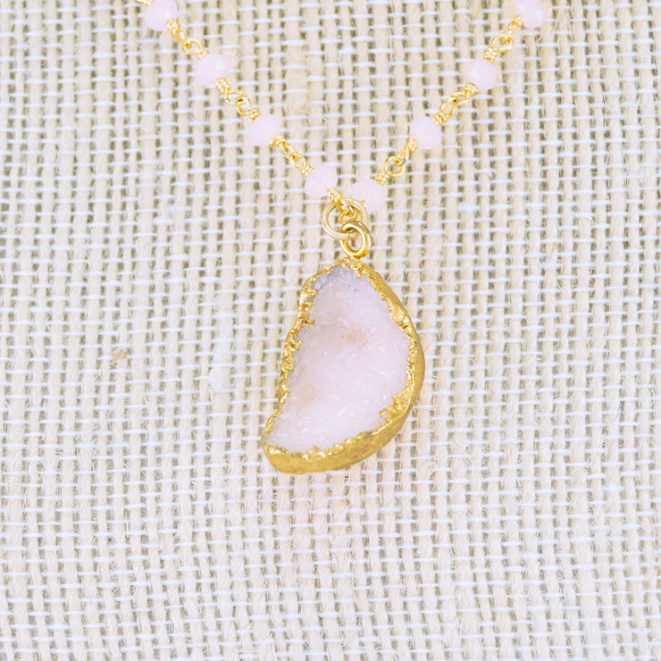 Pink Druzy Necklace