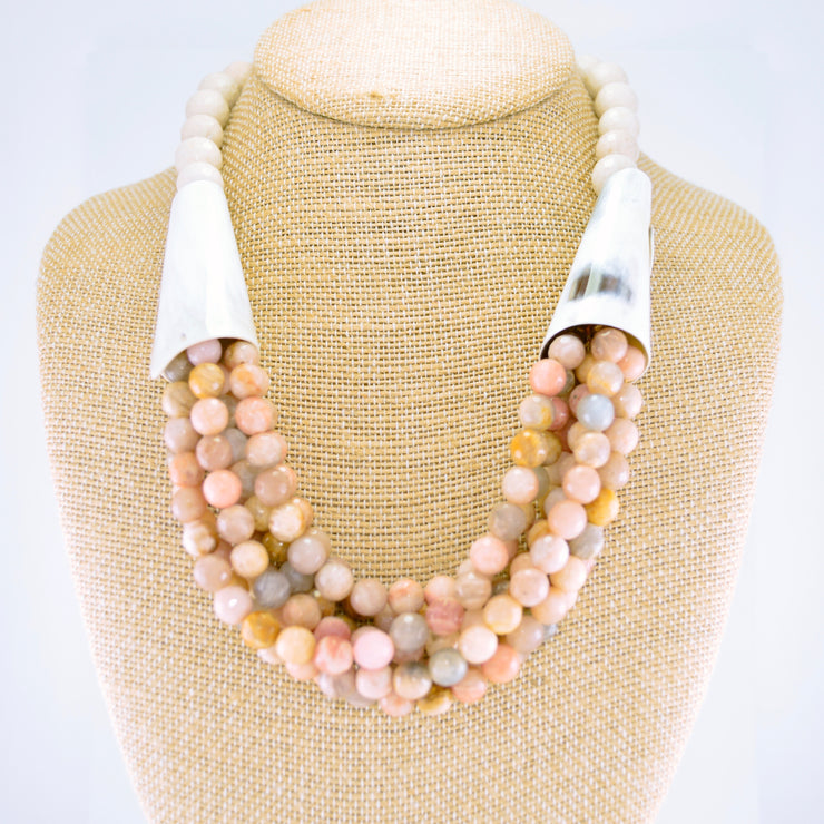 Multi-Strand Horn Statement Necklace