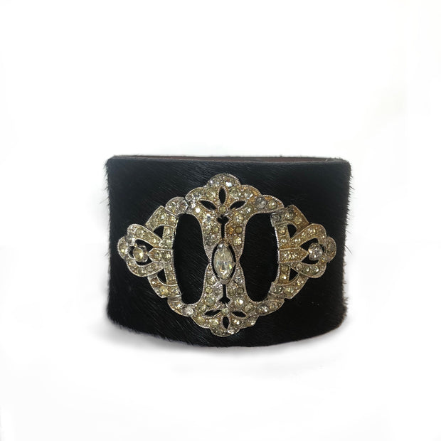 1930's Brooch Black Hair Bracelet