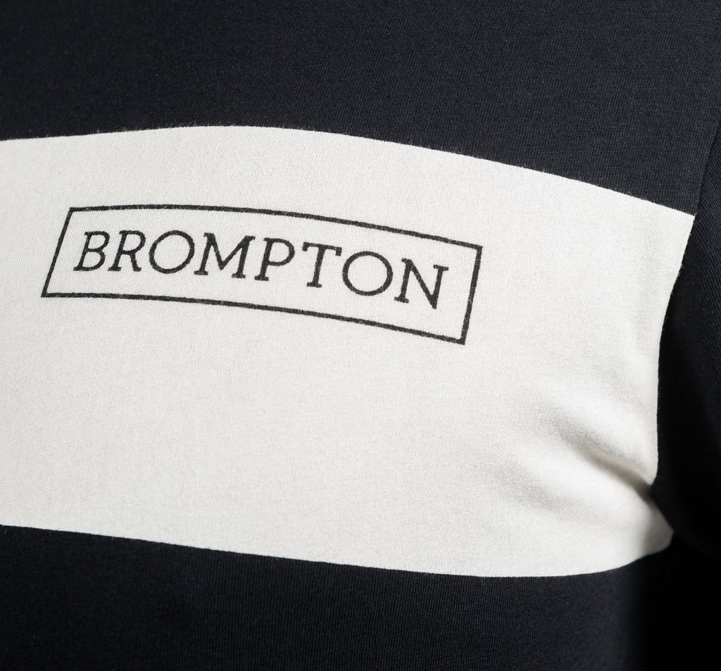 Brompton Logo Series T-Shirt Chest Detail in Black with White Stripe