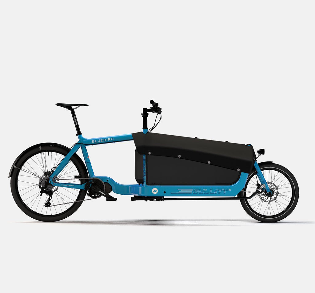 LARRY VS HARRY BULLITT SHIMANO STEPS E8000 CARGO BIKE WITH CARGO PACK IN BLUEBIRD BLUE