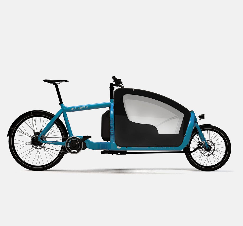 LARRY VS HARRY BULLITT SHIMANO STEPS E6000 CARGO BIKE WITH KIDS PACK IN BLUEBIRD BLUE