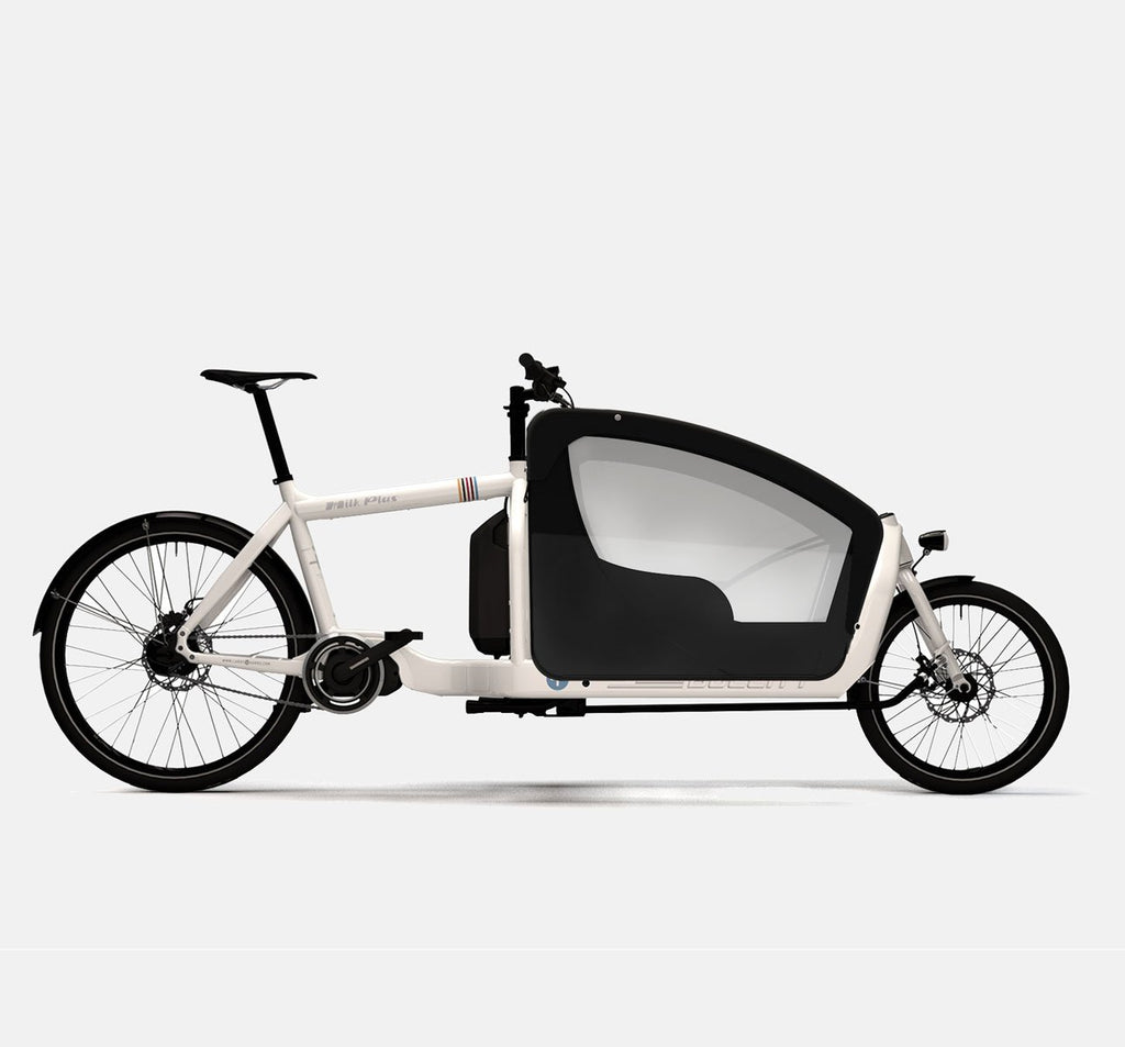 LARRY VS HARRY BULLITT SHIMANO STEPS E6000 CARGO BIKE WITH KIDS PACK IN MILK PLUS WHITE