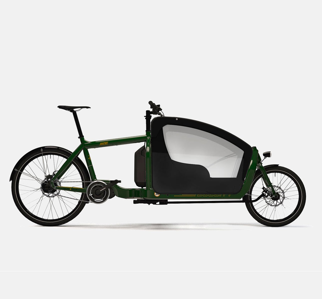 LARRY VS HARRY BULLITT SHIMANO STEPS E6000 CARGO BIKE WITH KIDS PACK IN RACE GREEN