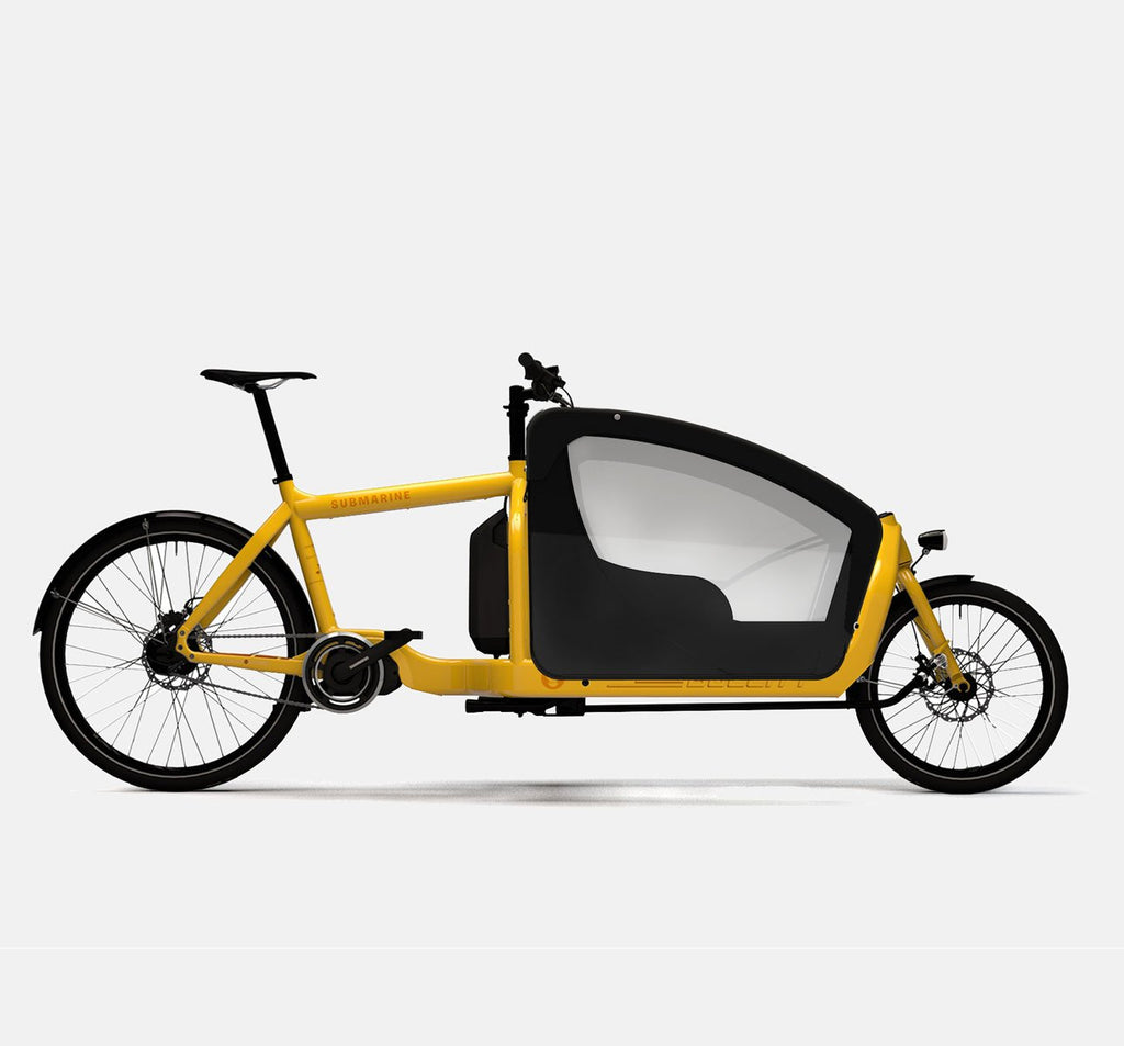LARRY VS HARRY BULLITT SHIMANO STEPS E6000 CARGO BIKE WITH KIDS PACK IN SUBMARINE YELLOW