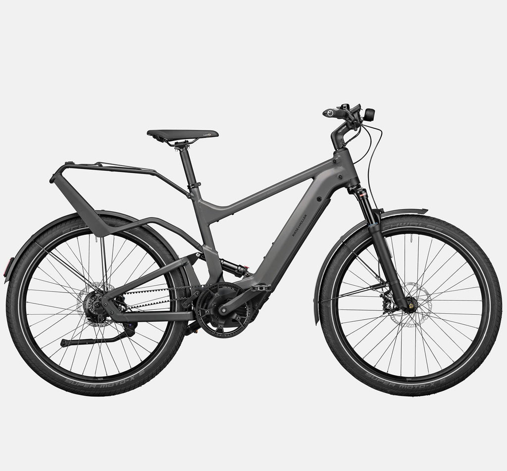 Riese & Muller Delite Rohloff Full Suspension Mountain E-Bike with Schwalbe SuperMoto-X Tires and Rack in Urban Grey Matte