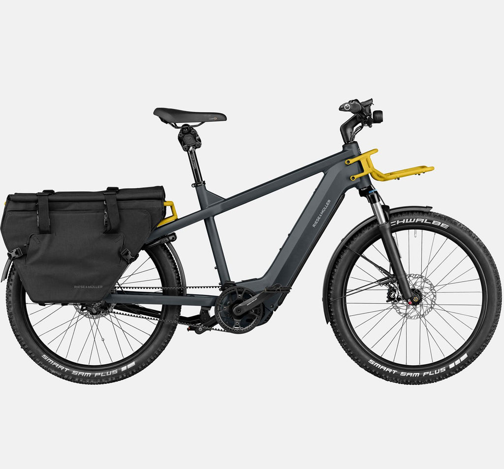 RIese & Muller Multicharger GT Rohloff Suspension E-Bike with THudbuster Seatpost and Cargo Bags in Utility Grey and Curry Matte
