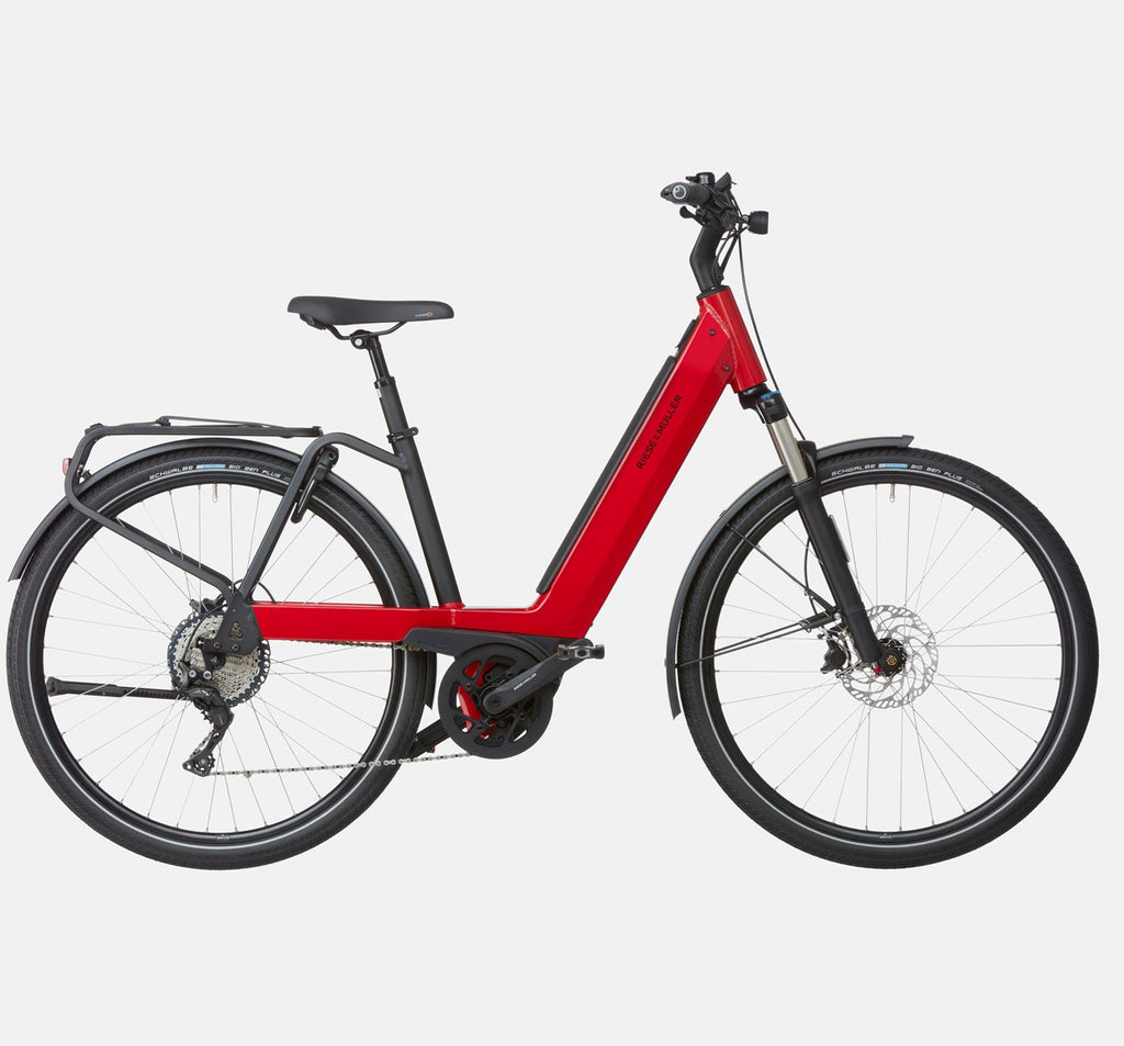 Riese & Muller Nevo3 GT Touring Suspension E-Bike with Schwalbe Big Ben Plus Tires and Dropper Seatpost in Dynamic Red Metallic