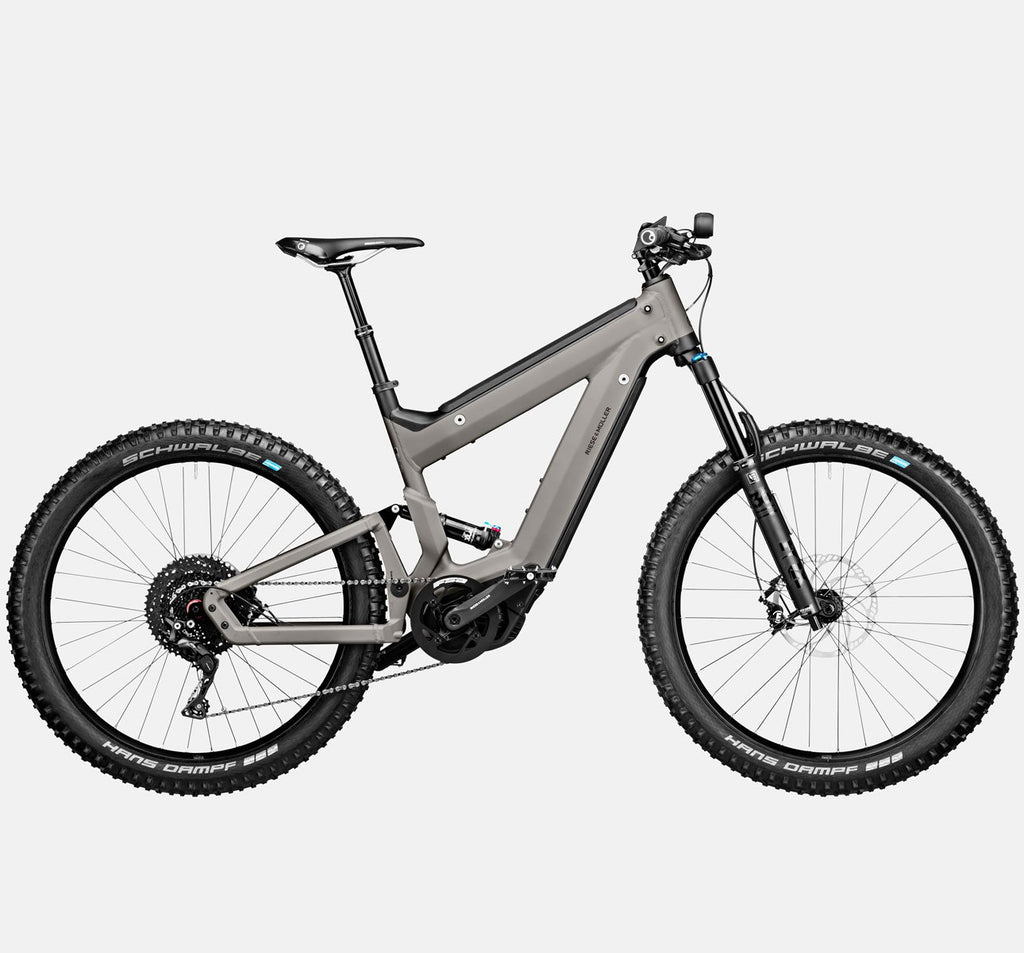 Riese & Muller Superdelite Mountain Touring Full Suspension E-Bike in Warm Silver Matte