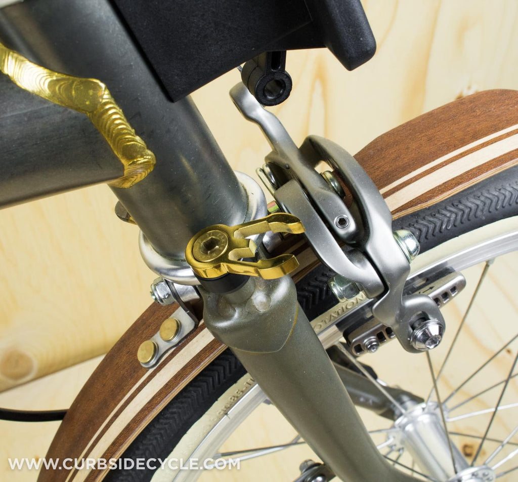 TPW Complete Handlebar Catch & Titanium Bolt Set in Gold on Brompton