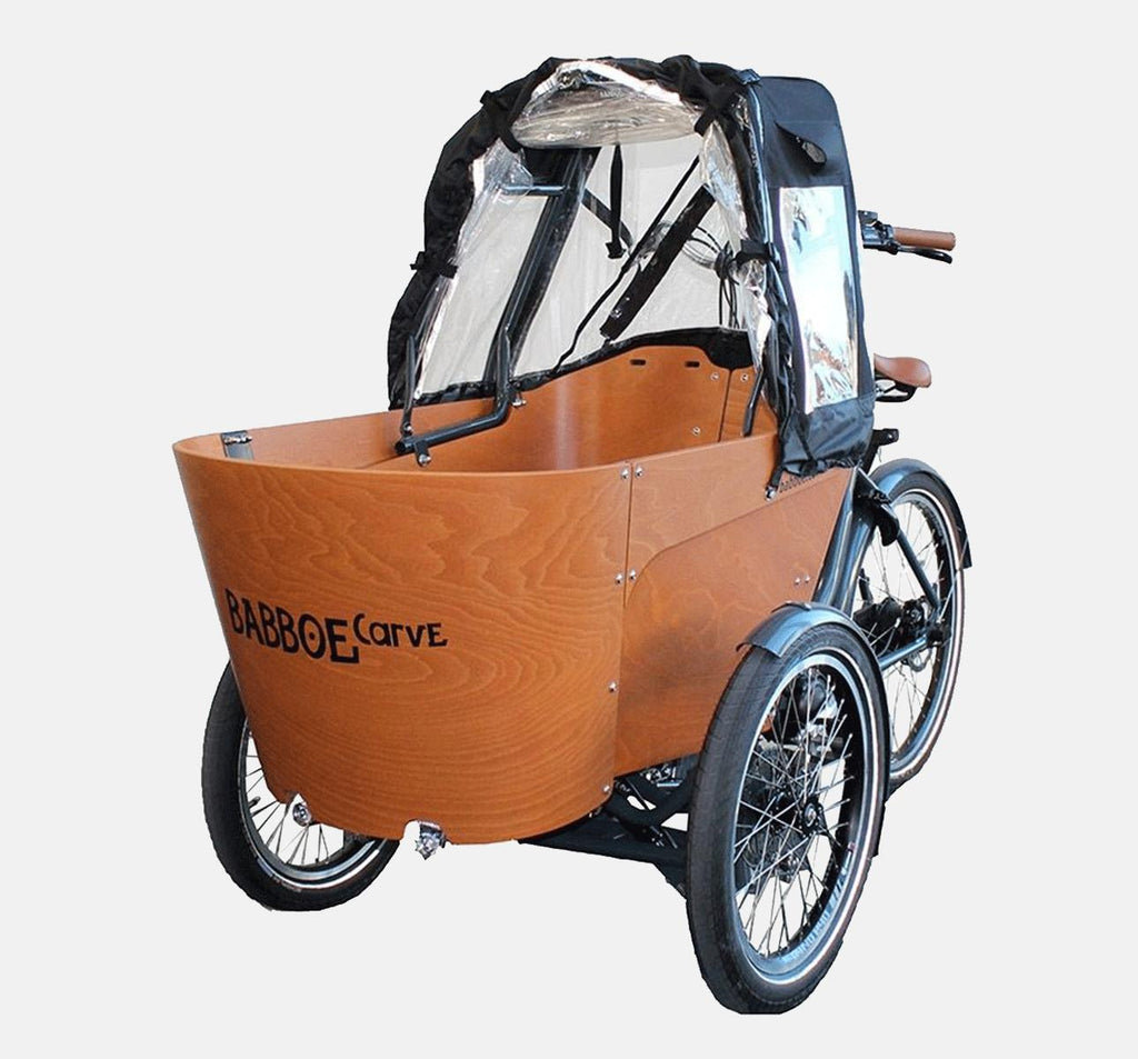 Babboe Carve Rain Tent Mounted On Cargo Bike - Open