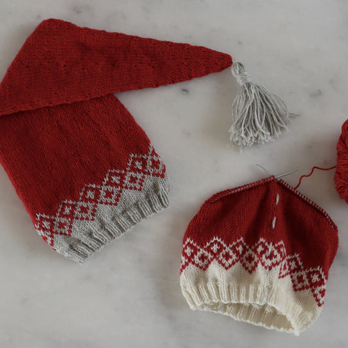 Bohéme Christmas Hat kit - Knit Pattern and Navia Duo yarn