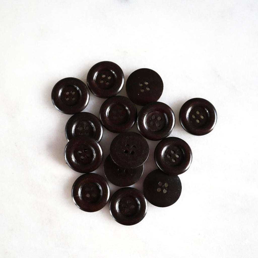 Shiny natural wood buttons, dark brown 30 mm