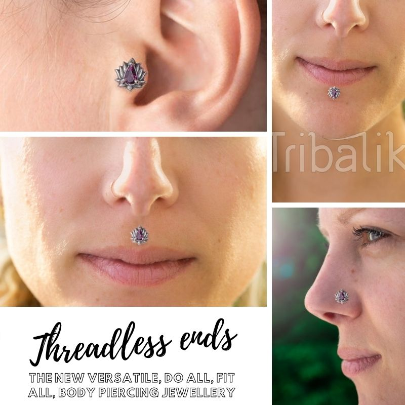 Grid of Threadless End piercing jewellery in multiple different piercings