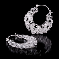 ear weights silver floral