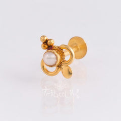 gold 22k threaded piercing stud