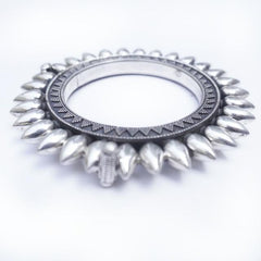 spiky rajastani solid silver bangle