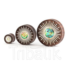 Organic Wood and Silver Plated Abalone Ear Plug- Xiuhpilli