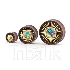Organic Wood and Brass Abalone Stretched Ear Plug- Xiuhpilli