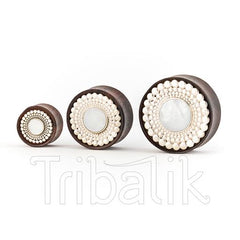 Organic Wood, Silver Plated and Mother of Pearl Ear Plug
