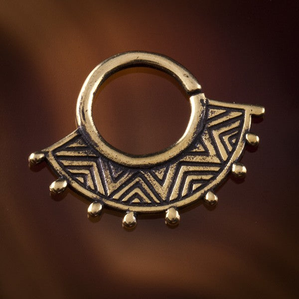 Inti Inca Fan Brass Septum Ring for Pierced Nose - 1mm