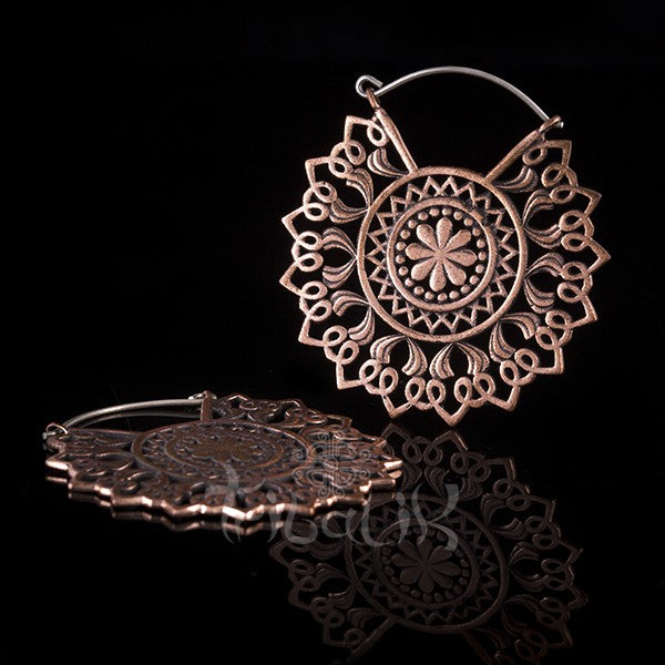 Copper Intricate Mandala Hoop Earrings