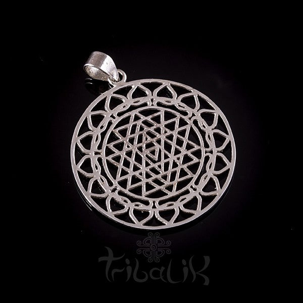 Silver Sri Yantra Pendant with Lotus Petals