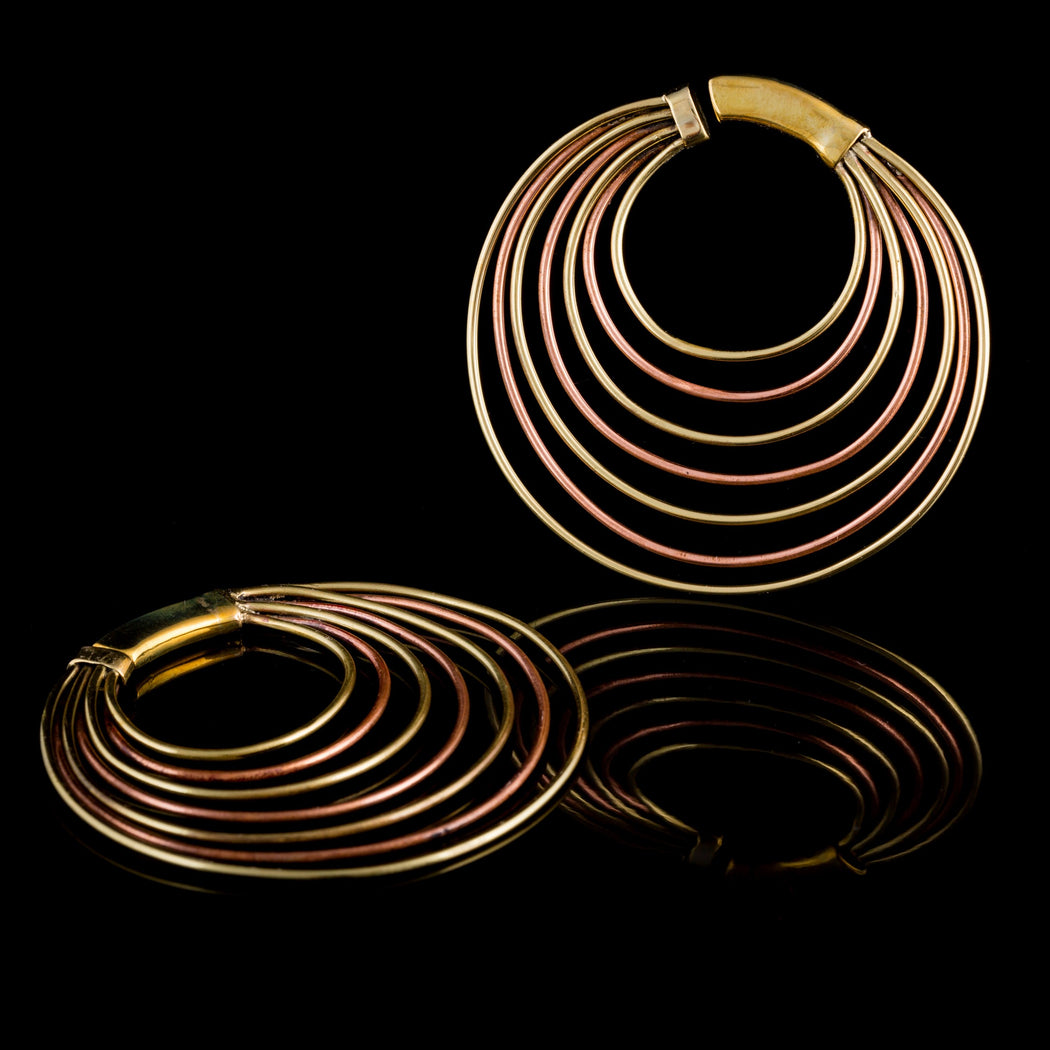 INFINITE 2 Dimensional Brass And Copper Hoop Earrings