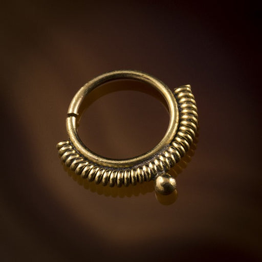 Madhavi Spiral Wire Brass Septum Ring for Pierced Nose - 1mm