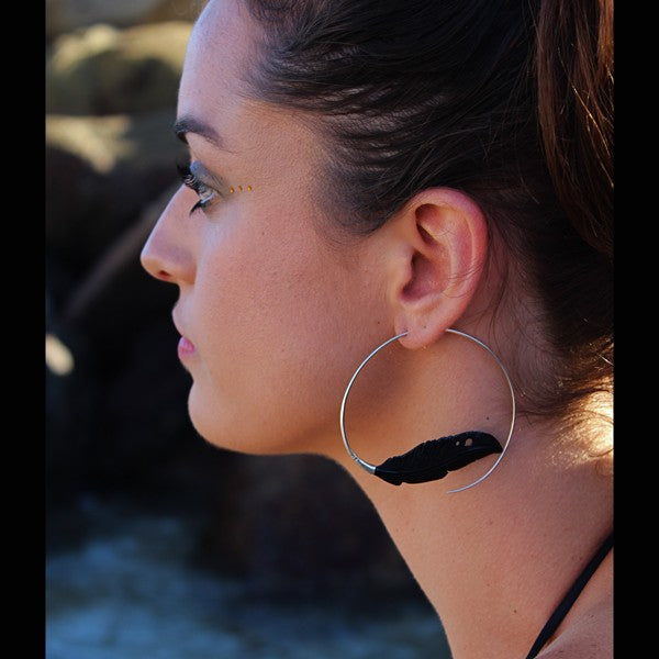 Sterling Silver & Carved Feather Black Horn Hoop Earrings- Light as a Feather