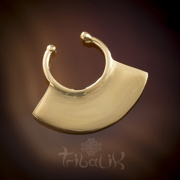 APACHE Plain Faux / Fake Yellow Gold Plated Septum Ring - Clip on