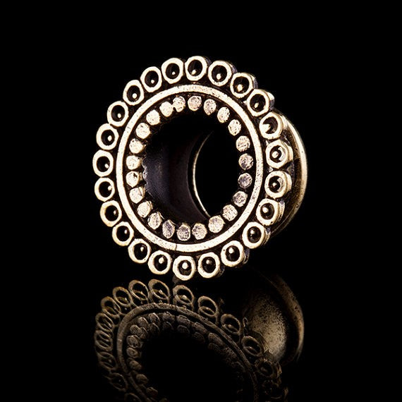 Mayan Vision Brass Eyelet-Flesh Tunnel