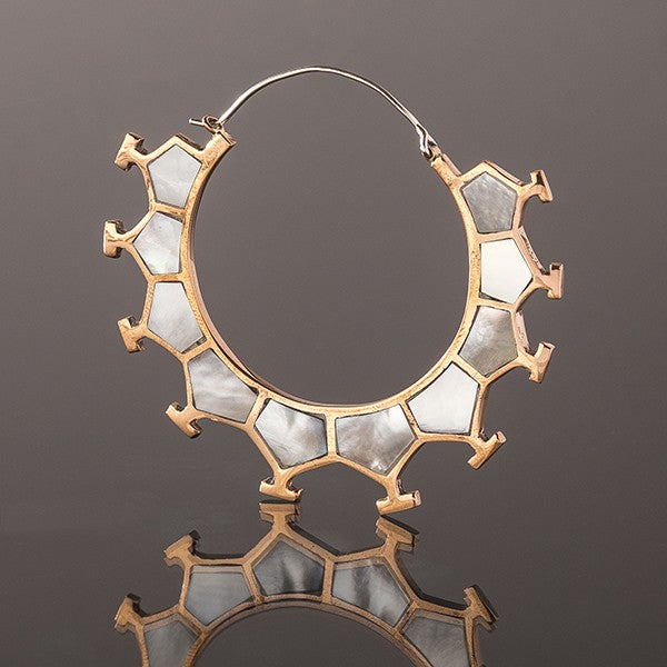 MARAMA Honeycomb Copper & Mother Of Pearl Shell Earrings - Large