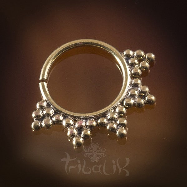 Yaxeka Brass Septum Ring for Pierced Nose - 1.2mm