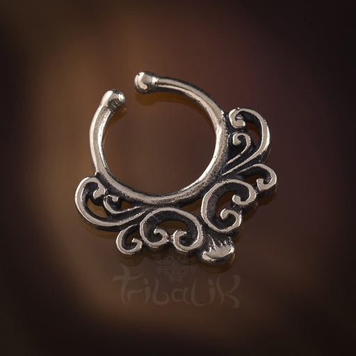 Budi Filigree White Brass Septum Ring for Pierced Nose - 1.2mm