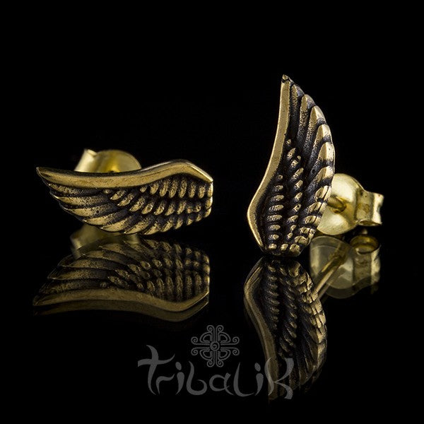 Brass Angel Wing Ear Studs