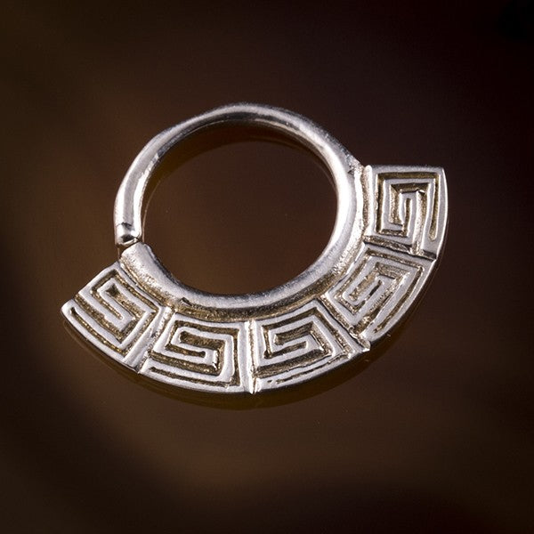 Ch'aska Inca Fan Silver Septum Ring for Pierced Nose - 1mm & 1.6mm