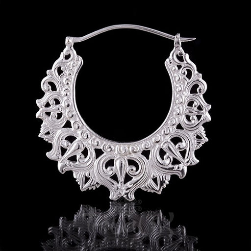 Silver Plated 'DIVINE CROWN' Large Hoop Earrings