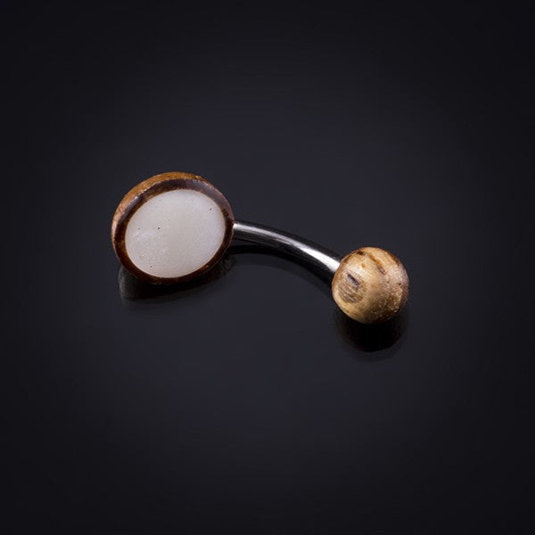 brown and mother of pearl belly bar