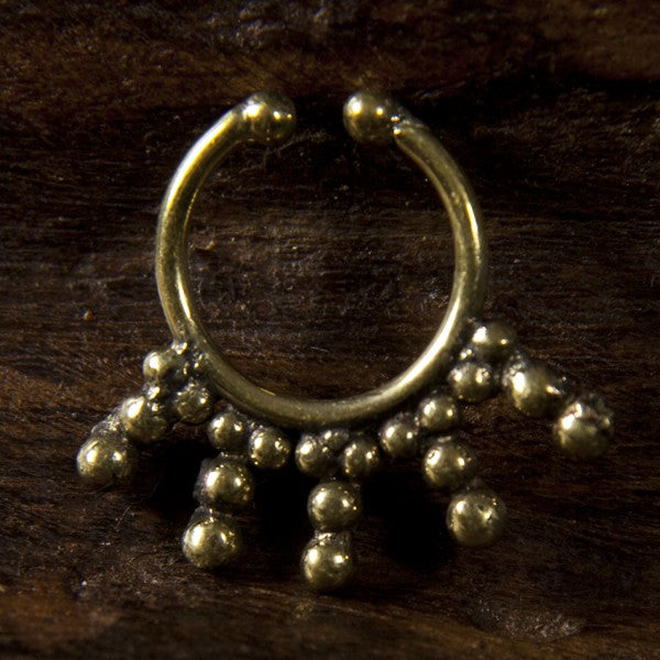 Shipibo Faux / Fake Brass Septum Ring - Clip on