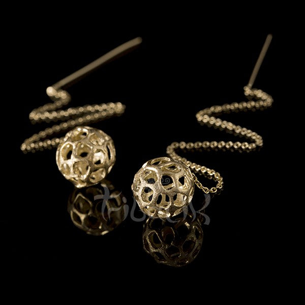 Gold Seed and Chain Drop Stud Earrings