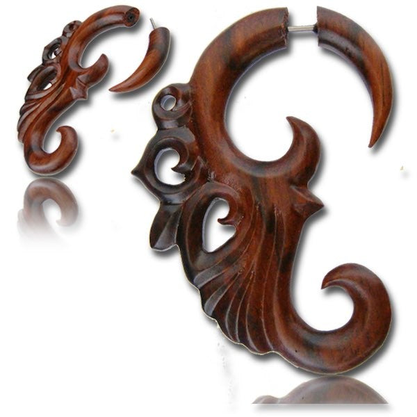 Narra wood fake piercings with surgical steel pin
