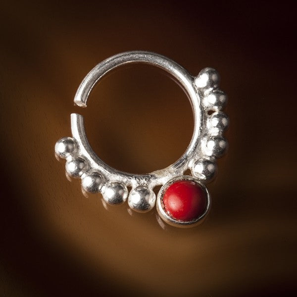Eka Red Coral Silver Septum Ring for Pierced Nose - 1mm