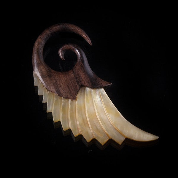 Narra Wood and Pearl Winged Ear Expander