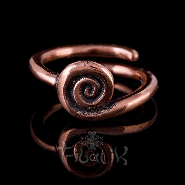 Copper Adjustable Ring | Spiral