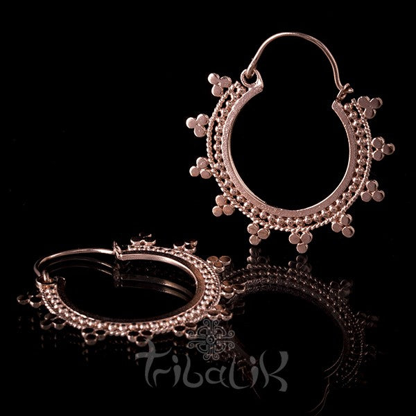 Afghan Rose Gold Plated Mandala Hoop Earrings
