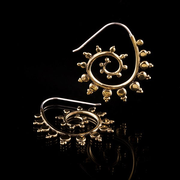 FRACTAL Brass Fractal Spiral Earrings - Silver Earpin