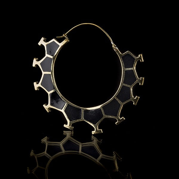 Honeycomb Brass & Black Resin Earrings, Large- Marama