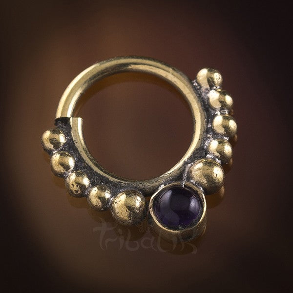 Eka Amethyst Stone Brass Septum Ring for Pierced Nose - 1mm